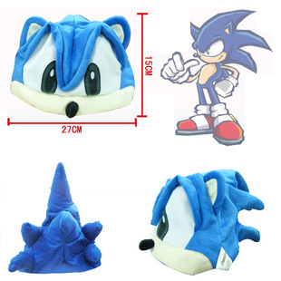 Cute GE Animation Sonic Figure Hair Cosplay Hat Fleece Cosplay Cap Anime Plush Hat Costumes Gift For Children