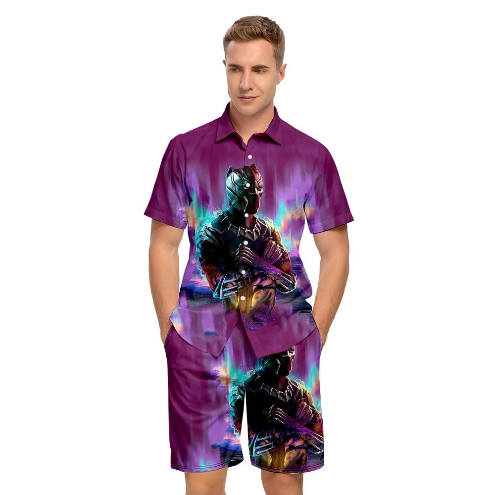 High quality WAKANDA FOREVER Shirt+Shorts Kids Two-piece suit 3D Chadwick Boseman Shirt +Beach Shorts Oversized Leisure Men Sets