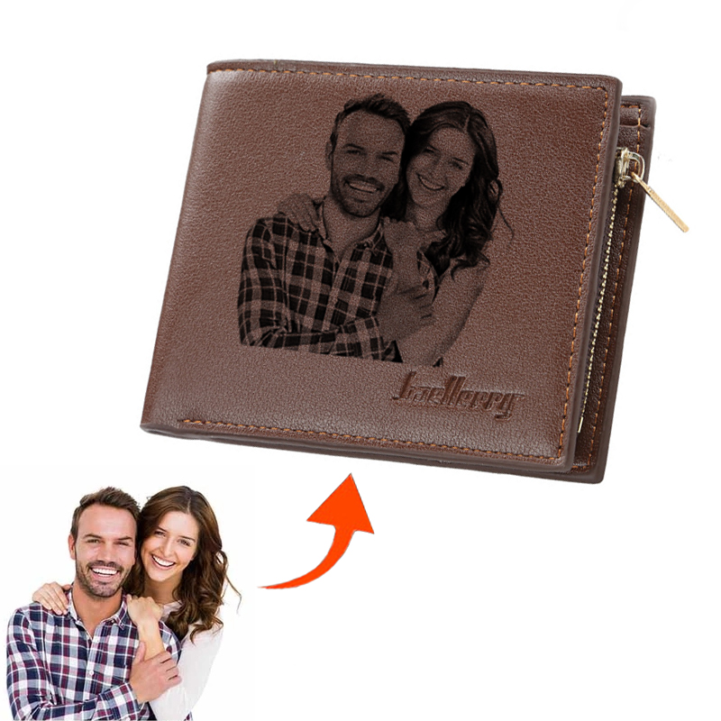 Picture Wallet Men Business Short Ultra-Thin Fashion Cowhide Bi-Fold Diy Customized Photo Carved Text Purse Valentine's Day Gift