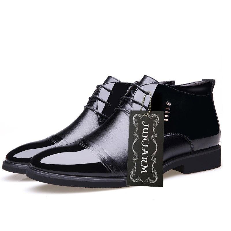 Купить мужские ботинки из микрофибры junjarm черные кожаные ботильоны