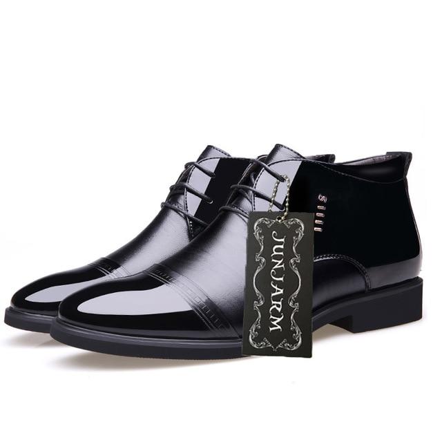 Фото мужские ботинки из микрофибры junjarm черные кожаные ботильоны цена