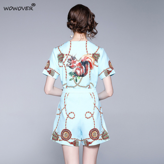 Women's Fashion Runway Two Piece Sets for Summer Elegant Lady Square Collar Print Top Suits with Shorts Casual Outfit Streetwear 4