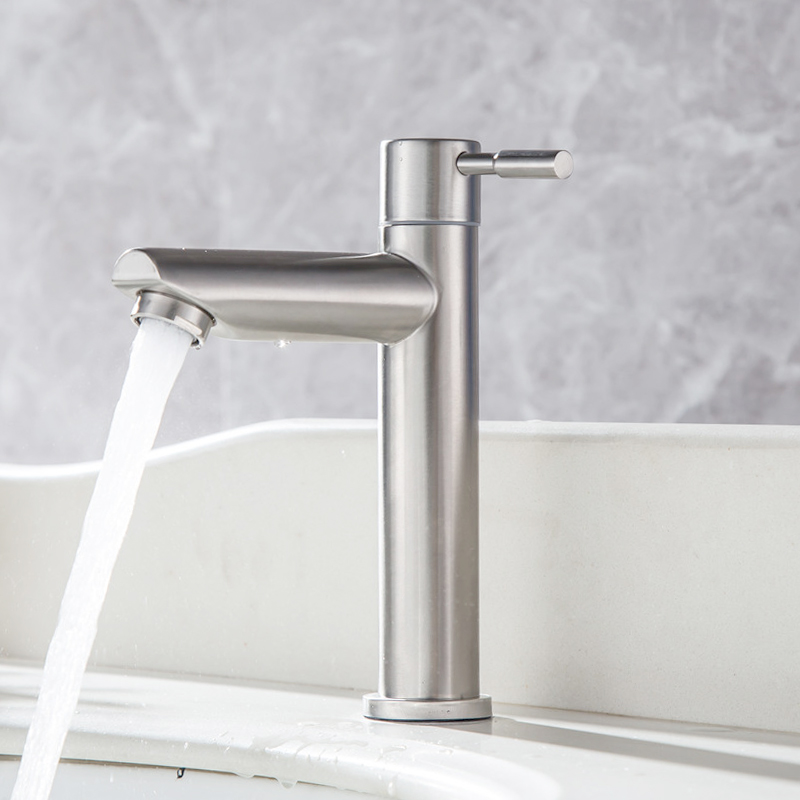 Image 3 - Stainless steel bathroom faucet basin mounted deck only cold tap rust and corrosion resistance of bathroom water tapBasin Faucets   -