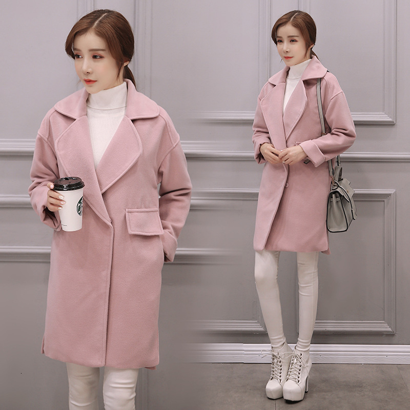 Directly Canister Pocket Long Sleeve 2019 Winter Hidden Discount Suit Lead Pink Colour Woolen Loose Coat Nh Overcoat Woman thumbnail
