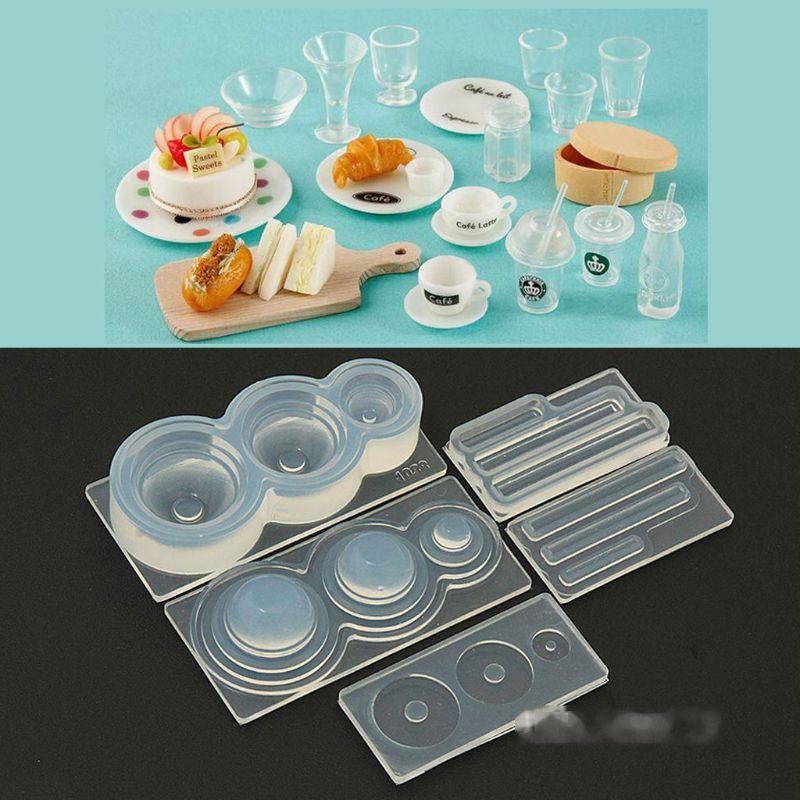 3D Mini Milk Tea Cup Bottle UV Resin Silicone Mold Miniture Food Play Mold Tool
