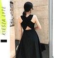 Женское летнее сексуальное платье, элегантное платье в стиле Хепберн, черное, без рукавов, с перекрестной спинкой, миди, трапециевидные вече...