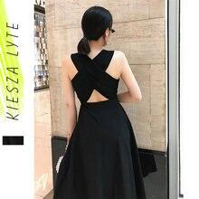 Mulheres verão sexy vestido elegante hepburn estilo preto sem mangas voltar cruz midi a linha vestidos de festa 2021new moda