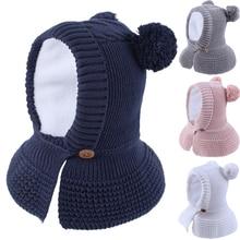 Hat Helmet Kid Winter Boy Girl Knit Beanie Fleece Lining Warm Pompon Cap Skiing Outdoor Accessory