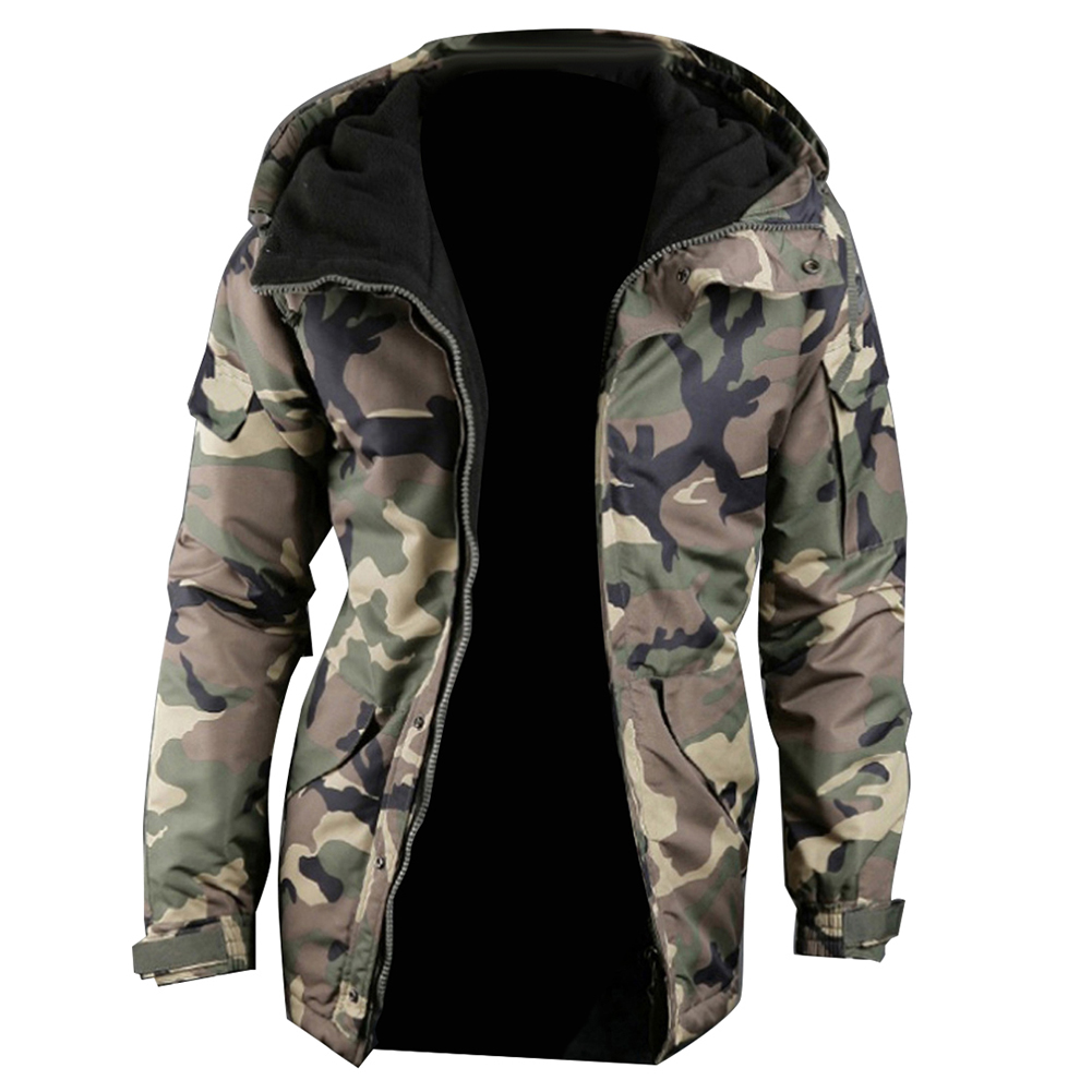 Fashion Winter Warm Men Jacket Coat Thicken  Camouflage Print Pocket Jacket Zipper Long Sleeve Coat For Men's Clothing 4