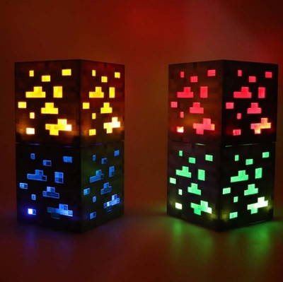 2019 Minecraft Light Up Redstone Ore Square Toy Minecraft Night light LED Action Toy Figure Light Up Diamond Ore Kids Gifts Toys