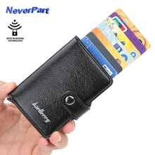 Hasp Men Women Wallet Automatic RFID Blocking Leather Wallets Business ID Credit Card Holder Purse Female Bags Mini Purses
