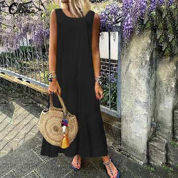 Plus Size Sundress 2019 Celmia Women Summer Sleeveless Maxi Long Dress Female Casual Loose Solid Maxi Dress Holiday Vestido Robe 3