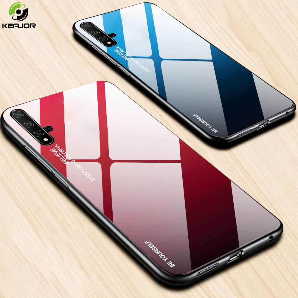 Tempered Glass For Huawei Nova 5T Case Luxury Gradient Hard Back Cover Soft Silicone Edge Bumper For Huawei Nova 5T 5 T Case