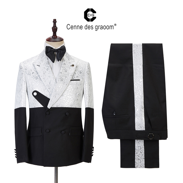 2020 Cenne Des Graoom Latest Coat Design Men Suits Blazers Tailor-Made Tuxedo 2 Pieces Wedding Party Singer Groom For Christmas