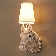 Vintage Sconce Rustic-Lamp Horse-Head European Lighting Wall-Decoration Home-Decor-Lights