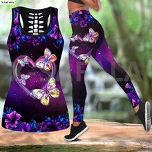 Purple Butterfly Psychedelic Two Piece Yoga Set Women 3D Print Vest Hollow Out Tank Top High Waist Legging Summer Casual Sport