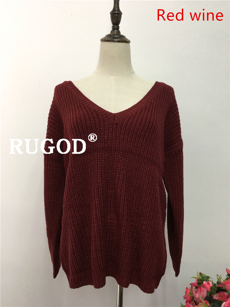 Rugod 19 New Sexy Backless V-neck Sweater Women Pullover Autumn Winter Casual Knitted Sweater Femme Tricot Pullover Jumpers 12