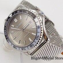 цена BLIGER Luxury Type Mechanical Men Watch Grey Dial Sapphire Glass Rotating Bezel Steel Band MIYOTA Movement онлайн в 2017 году