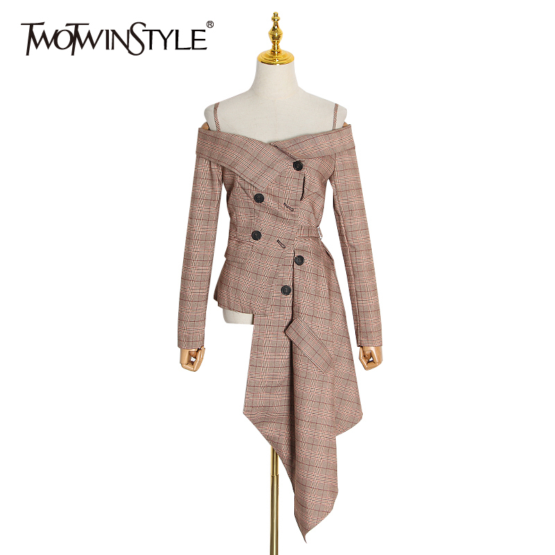 TWOTWINSTYLE Casual Plaid Women Coat Slash Neck Long Sleeve High Waist Tunic Irregular Jackets Female Fashion Clothing 2020 Tide