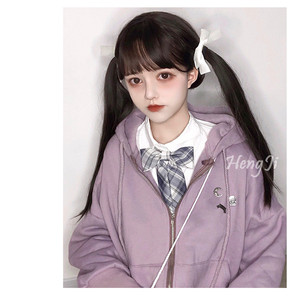 Image 2 - Uwowo Long Straight Black Brown Chololate Wig Cosplay Lolita Wigs Heat Resistant Synthetic Hair Anime Party wigs