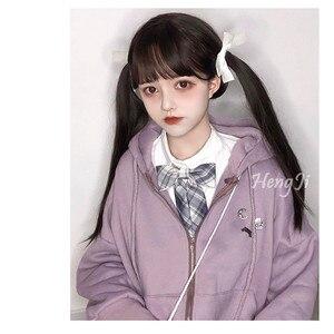 Image 2 - Uwowo Thẳng Dài Nâu Đen Chololate Tóc Giả Hóa Trang Lolita Tóc Giả Chịu Nhiệt Tóc Tổng Hợp Anime Đảng Bộ Tóc Giả