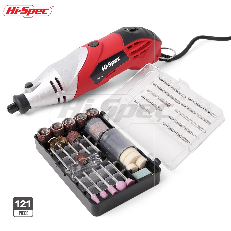 Hi-Spec – perceuse électrique 120 W, outil électrique, perceuse électrique, vitesse Variable, outil rotatif pour couper, artisanat, ponceuse, broyeur, graveur, DREMEL, 170 pièces