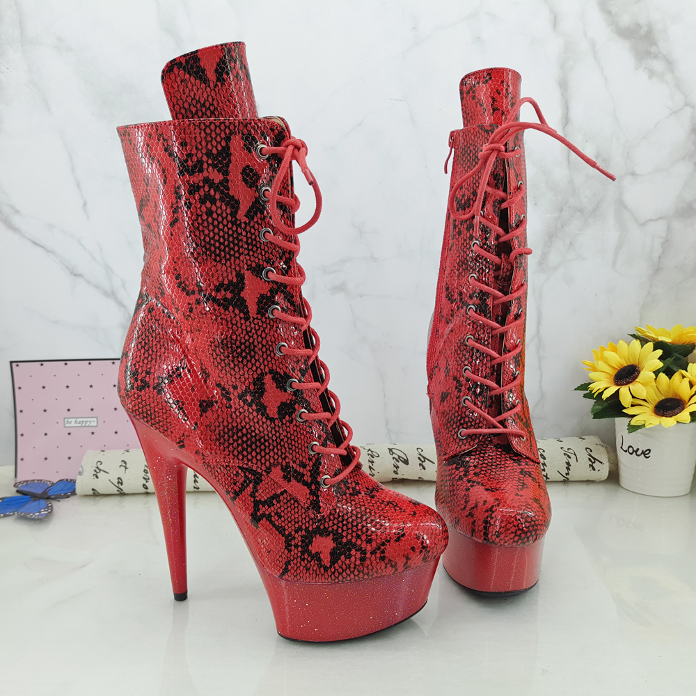 Leecabe RED snake Upper  15CM/6Inch Women's Platform party High Heels Shoes Pole Dance boots