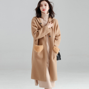 Fishion Office Lady Hooded Long Woolen Winter Coats Women Covered Button Wool Coat And Jacket Loose Pockets Solid Ladies Coats 2