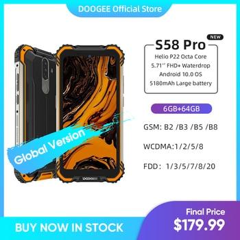 "New DOOGEE S58 Pro Mobile Phone IP68/IP69K Waterproof Rugged Phone 5180mAh 5.71""FHD+Display 6GB+64GB Android 10 NFC Smartphone"