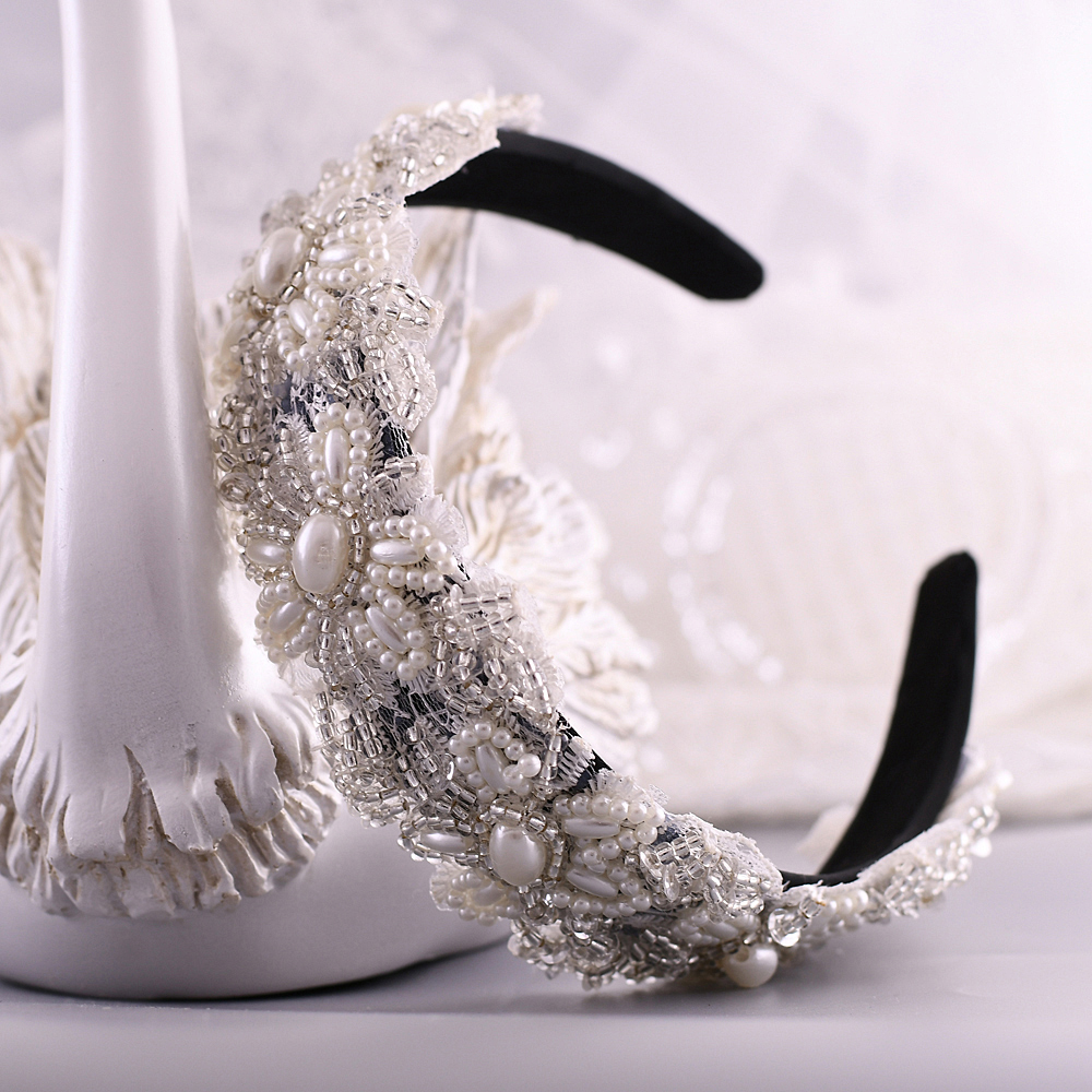 TRiXY S219-FG Pearl Wedding Headpieces Beaded Hair Band Wedding head piece for brides Baroque Hair Hoop Wedding Hair Accessories