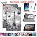 Для Amazon Kindle Fire HD 10 2019 чехол для нового Kindle Fire HD10 9 поколения Смарт Флип кожаный Стенд чехол для планшета + пленка + стилус