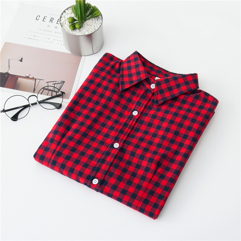 2020 New Women Blouses Brand New Excellent Quality Cotton 32style Plaid Shirt Women Casual Long Sleeve Shirt Tops Lady Clothes 11