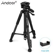Andoer TTT 663N Trípode de cámara de aluminio de viaje portátil profesional para SLR DSLR, trípode de cámara Digital con abrazadera de teléfono