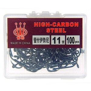 Image 3 - Crochets de pêche en acier à haute teneur en carbone, avec crochets de pêche en lac, 100 pièce/boîte