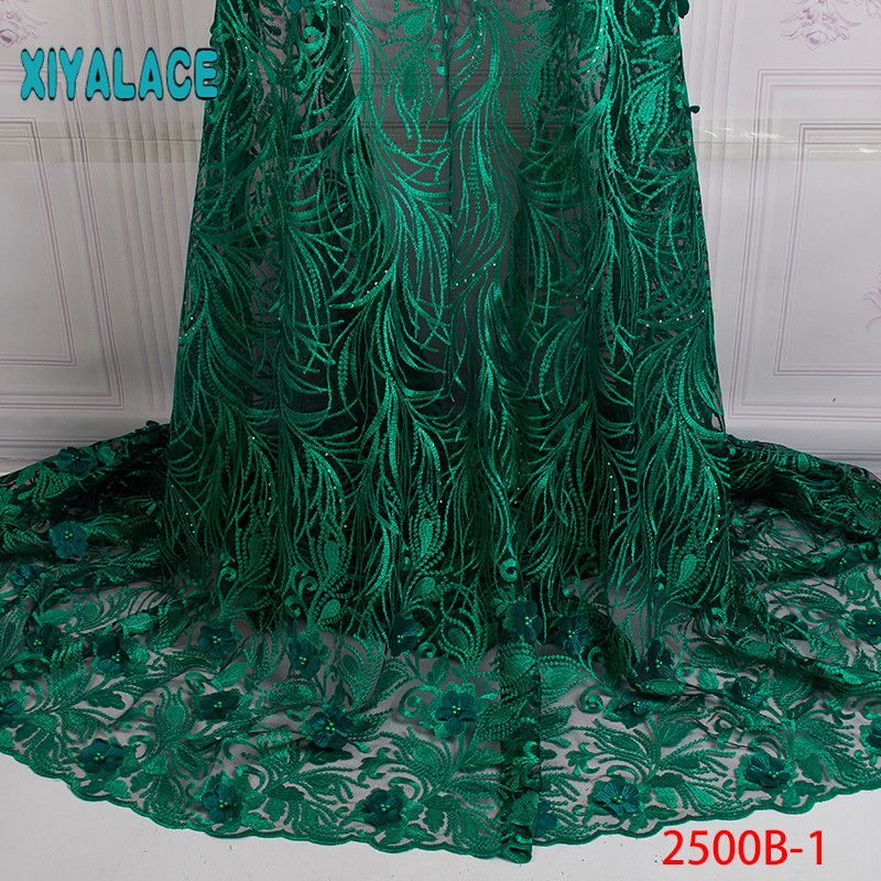 Latest Green African Lace Fabric With 3D Floral 2019 High-quality French Tulle Lace And Swiss Lace Fabrics For Ladies YA2500B-1