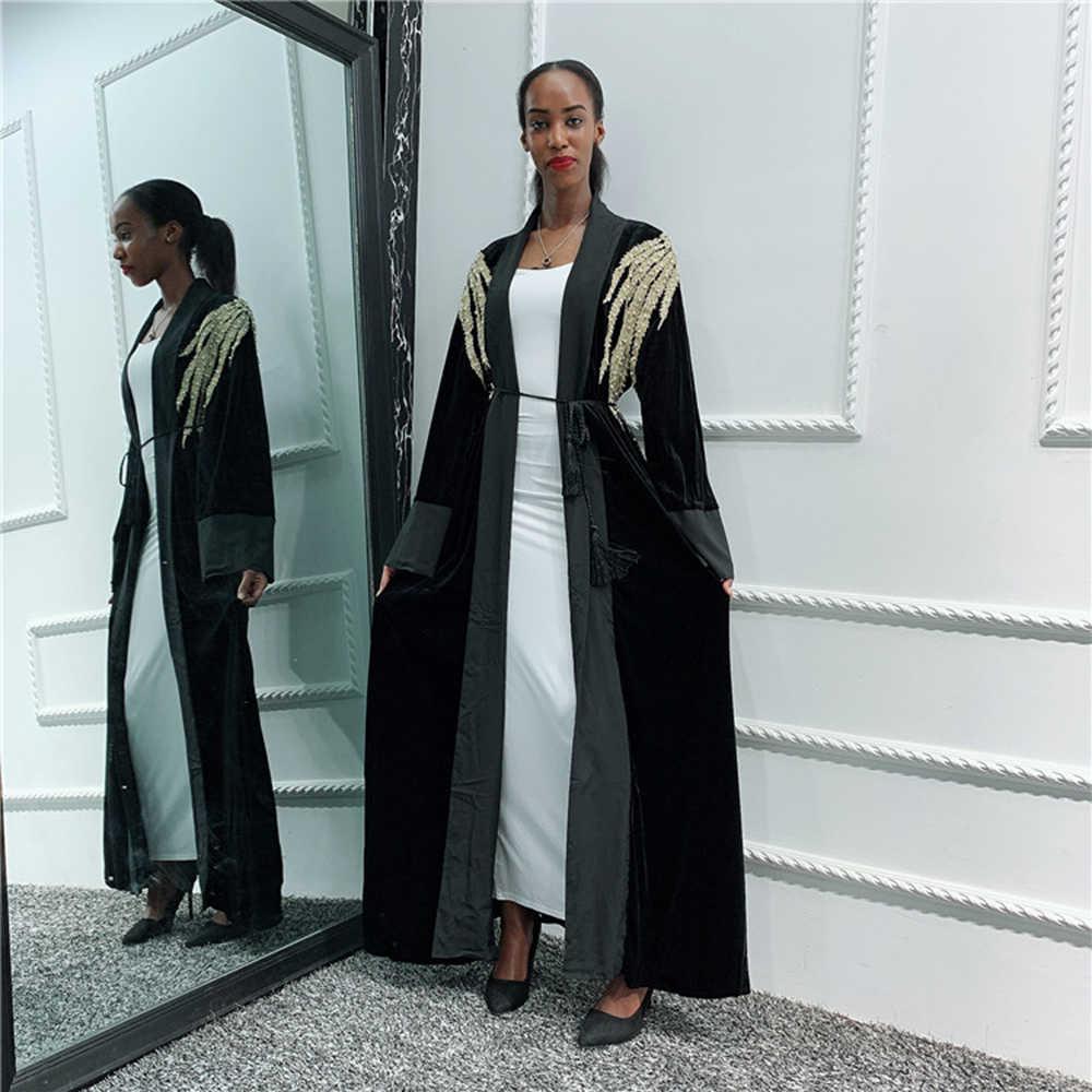 スパンコールベルベットアバヤ着物カーディガンイスラム教徒ヒジャーブドレス女子ローブカフタン Abayas ドバイカフタン Marocain カタールイスラム服