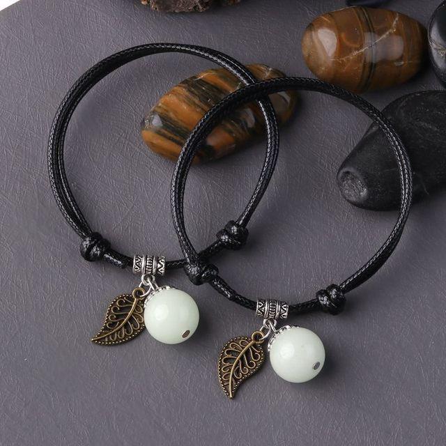 Luminous Bead Leaf Pendant Bracelet for Men & Women