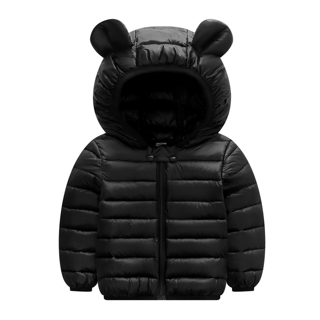 Jacket Coats Outwear Hooded Ears Infant Baby Girls Autumn Boys Kids Winter for Zip Thick title=