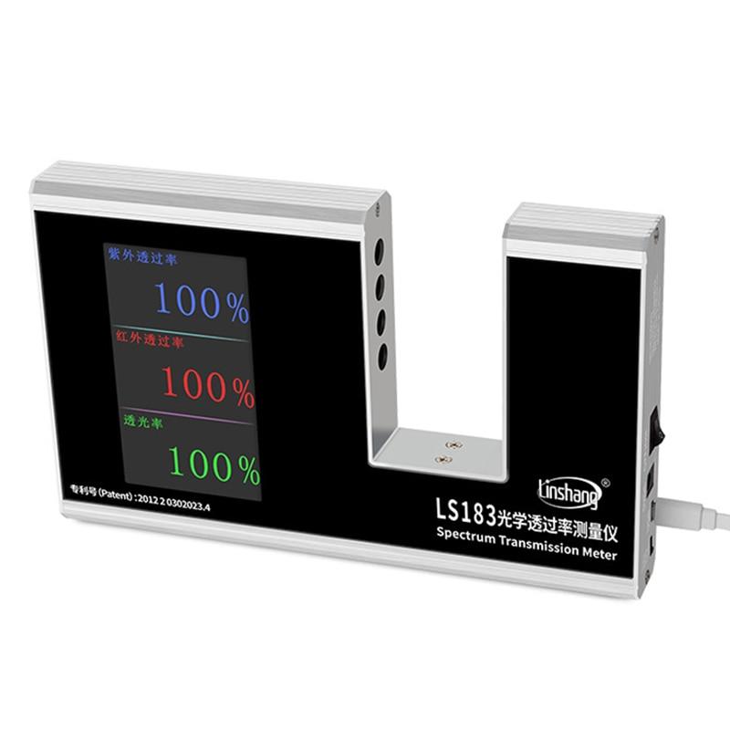 Linshang LS183 spectre Transmission mètre UV IR Transmission mètre Film d'essai verre fenêtre teinte avec 940 IR 365 UV 380-760Nm VL
