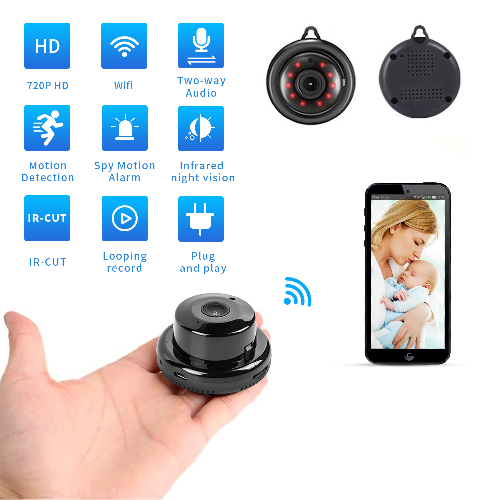 Home Security Mini WIFI 720P IP Kamera Draadloze Kleine CCTV Infrarot Nachtsicht Bewegingsdetectie SD Karte Slot audio APP