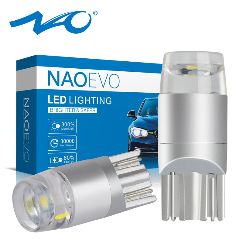 NAO T10 Led Bulb W5w LED Car DRL 3030 SMD 5W5 194 168 COB Clearance Lights Reading Interior Auto Lamp 12V 6000k White Yellow Red