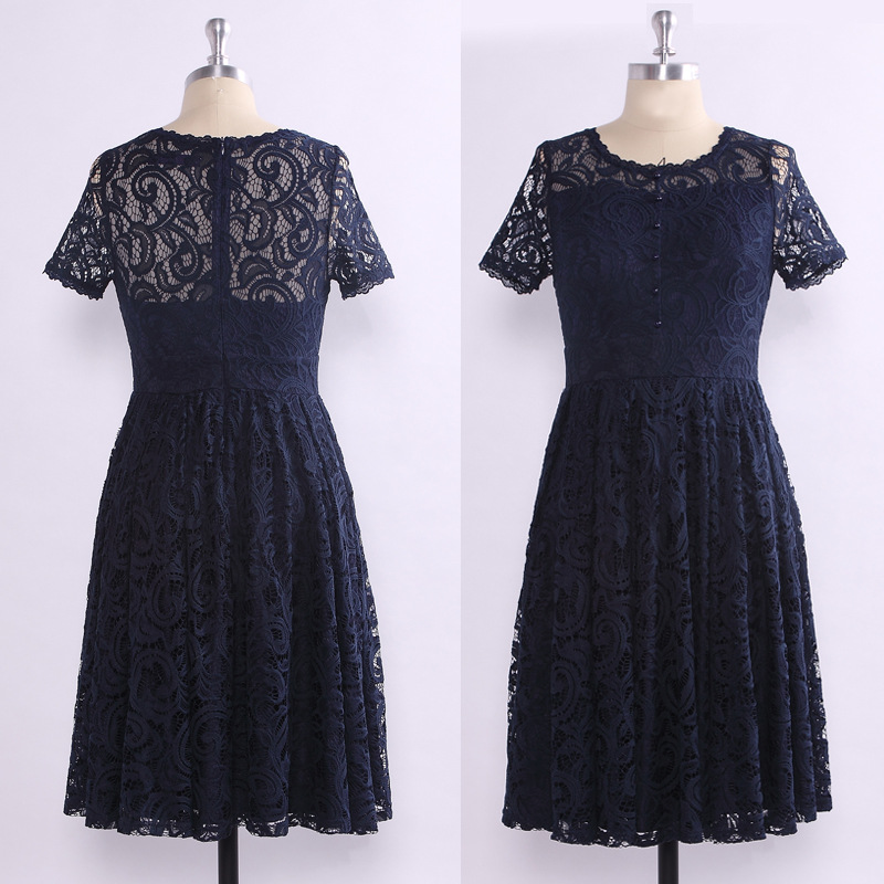 It's Yiiya Prom Dresses O-Neck Illusion Plus Size Lace Vestidos De Gala C464 Short Sleeve Knee-Length Prom Dresses 2020