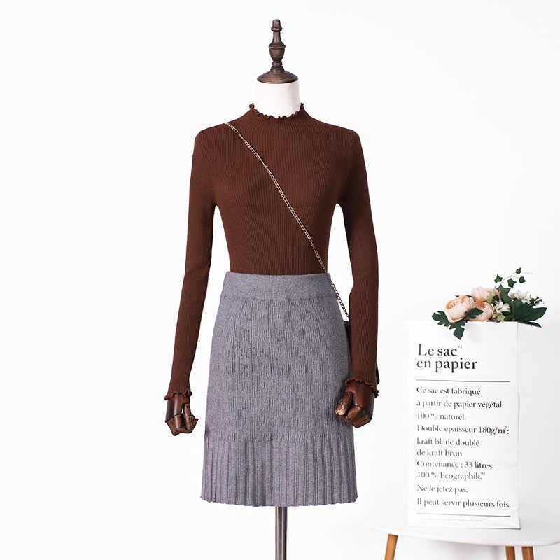 SKOONHEID nowych kobiet z dzianiny krótkie spódnice paski sexy ciepły sweter spódnica dzianiny z dzianiny spodnie i spódnice, solidne, dziewiarskie spódnice ołówkowe