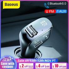 Baseus Auto Oplader Voor Mobiele Telefoon Fm zender Aux Modulator Bluetooth 5.0 Handsfree Audio MP3 Speler Dual Usb Car Charger