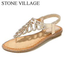 Sandals Flip-Flops Flat-Shoes Rhinestone Bohemian Ladies Leaf Exquisite New-Style