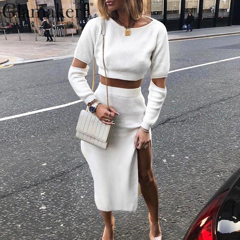 Glamaker White elegant knitted sweater winter dress Women hollow out two piece suit midi dress Autumn sexy party bodycon dressDresses   -