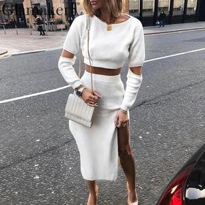 Image 1 - Glamaker White elegant knitted sweater winter dress Women hollow out two piece suit midi dress Autumn sexy party bodycon dress