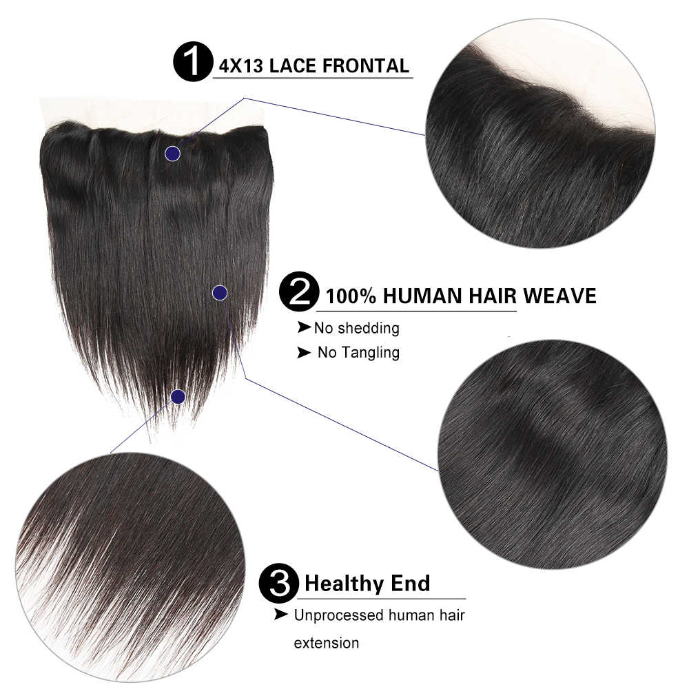 Ali Zucker Reines Haar Malaysische Gerade Bundles Mit 13*4 Spitze Frontal Natürliche Farbe 100% Raw Menschliches Haar Extensions