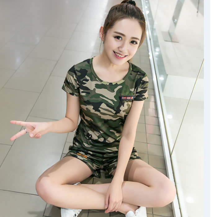 Loose-Fit Sports WOMEN'S Suit Summer Two-Piece Set Korean-style Casual WOMEN'S Dress Camouflage Sports Clothing