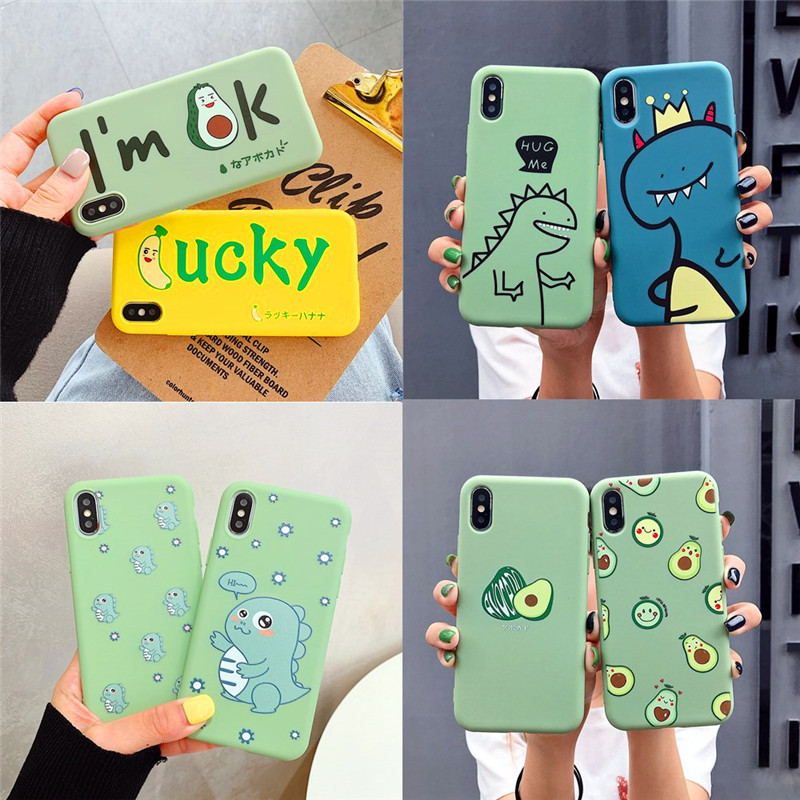 Cartoon <font><b>Dinosaur</b></font> Avocado <font><b>Case</b></font> For <font><b>iPhone</b></font> 11 Pro Max XS Max XR X <font><b>Cases</b></font> For <font><b>iPhone</b></font> <font><b>7</b></font> 8 6 6S Plus Soft TPU Cover Candy Coque Fundas image